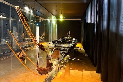 Reconstruction of the Hjortspring boat at the National Museum of Denmark