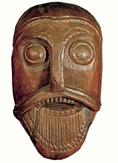 A head carving from the Oseberg Ship Burial